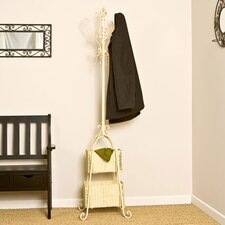 Arden Coat Rack with Rattan Storage