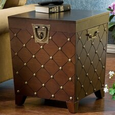 Shewsbury Nailhead Trunk End Table in Espresso
