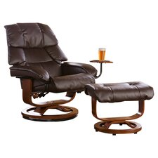 Dawn Leather Ergonomic Recliner and Ottoman