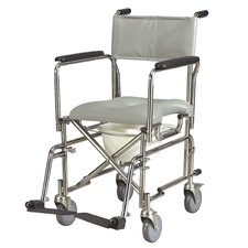 "Stainless Steel Rehab 17"" Shower/Commode Bariatric Wheelchair"