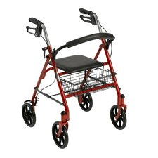Four Wheel Rollator Walker with Fold Up Removable Back Support