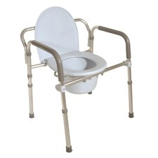 Aluminum Folding Commode with Commode Bucket and Splash Guard