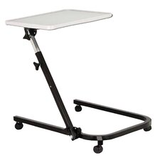 Pivot and Tilt Adjustable Overbed Table Tray in Gray and Black