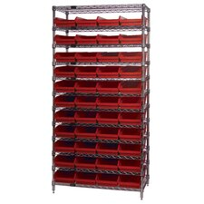 "18"" Q-Stor 12 Shelf Unit with Shelf Bins with Optional Mobile Kit"
