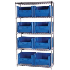 "Q-Stor 5 Shelf Unit with Giant Hopper Bins (74"" H x 36"" W x 18"" D) with Optional Mobile Kit"