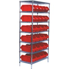 <strong>Quantum Storage</strong> Quick Pick Bins Wire Shelving Unit with 28 Small Bins with Optional Mobile Kit
