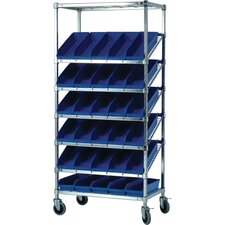 "21"" Slanted Wire Pick Racks Storage Unit with Economy Shelf Bins with Optional Mobile Kit"