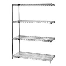 "Large 74"" Q-Stor Chrome Wire Shelving Add-On Unit"