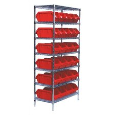 <strong>Quantum Storage</strong> Quick Pick Bin Wire Shelving Units with 28 Large Bins with Optional Mobile Kit