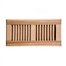 "4"" x 14"" Red Oak Self Rimming Vent Cover with Damper"