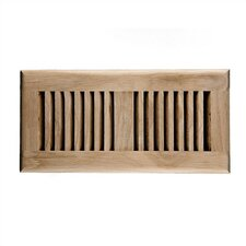 "4"" x 10"" White Oak Self Rimming Wood Vent Cover with Metal Damper"