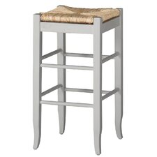 "29"" Rush Seat Barstool in White"