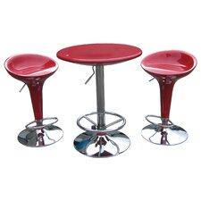 Luna Adjustable 3 Piece Pub Set in Red