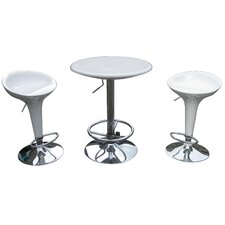 Luna Adjustable 3 Piece Pub Set in White