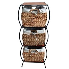 Seagrass Rattan 3 Drawer Basket Storage Cabinet