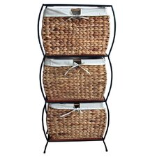 Seagrass Rattan 3 Drawer Basket Storage File Cabinet