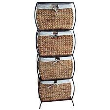 Seagrass Rattan 4 Drawer Basket Storage File Cabinet