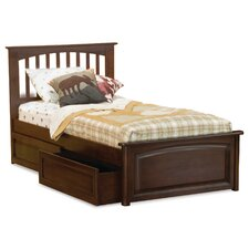 Brooklyn Platform Bed with Raised Panel Drawers in Antique Walnut
