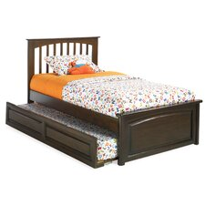 Brooklyn Platform Bed with Trundle II in Antique Walnut