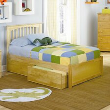 <strong>Atlantic Furniture</strong> Brooklyn Platform Bed with Flat Panel Footboard in Natural Maple