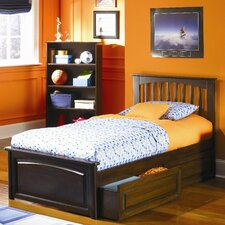 Brooklyn Platform Bed with Raised Panel Drawers in Caramel Latte
