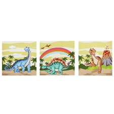 3 Piece Dinosaur Kingdom Wooden Canvas Art Set