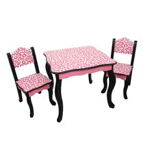 Kids Leopard 3 Piece Rectangle Table and Chair Set