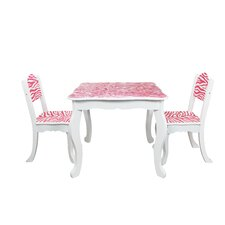 Kids Zebra 3 Piece Rectangle Table and Chair Set
