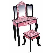 Leopard Vanity Set with Mirror