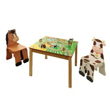 <strong>Teamson Kids</strong> Happy Farm Room Kid's 3 Piece Square Table and Chair Set