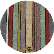 "Seashore Stripes Round: 15"" x 15"" - Blue Chair Pad"