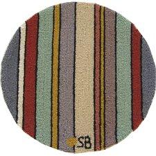 "Seashore Stripes Round: 15"" x 15"" - Blue Chair Pad"