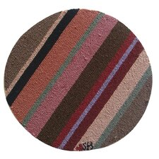 "Yipes Stripes Round: 15"" x 15"" - Brown Chair Pad"