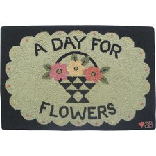 A Day For Flowers: 2' x 3' - Green Rug