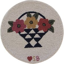 "A Day For Flowers Round: 15"" x 15"" - Beige Chair Pad"