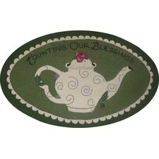 "Counting Our Blessings Oval: 2'6"" x 4' - Green Rug"