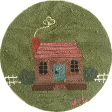 "Home Sweet Home Round: 15"" x 15"" - Green Chair Pad"