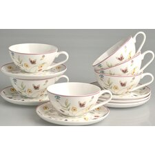 "12-tlg. Teetassen Set ""Butterfly"" aus Bone China-Porzellan"