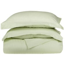 <strong>Simple Luxury</strong> 300 Thread Count Egyptian Cotton Stripe Duvet Cover Set