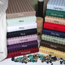 300 Thread Count Egyptian Cotton Stripe Waterbed Queen Sheet Set