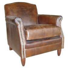 Vintage Studded Front Leather Armchair