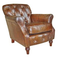 Vintage Button Back Leather Armchair