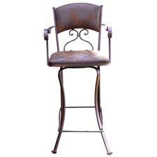 Swivel Bar Stool with Microfiber Back