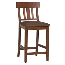 Linon Torino Slat Back Counter Stool in Dark Cherry