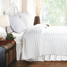 <strong>Greenland Home Fashions</strong> Ruffled 3 Piece Quilt Set