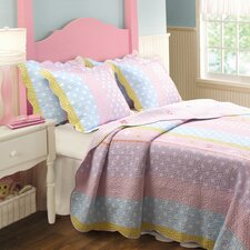 <strong>Greenland Home Fashions</strong> Polka Dot Stripe Quilt Set
