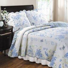 Coral Blue Quilt Set