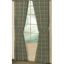 Green Yellow Plaid Cotton Tab Top Bed Curtain Single Panel