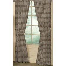 Cream Plaid Cotton Tab Top Bed Curtain Single Panel