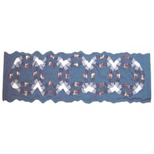 "Blue Double Wedding Ring 54"" Curtain Valance"